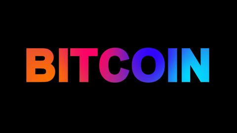 crypto currency name BITCOIN multi-colored appear then disappear under the Animation