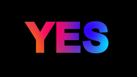 text YES multi-colored appear then disappear under the lightning strikes CG動画