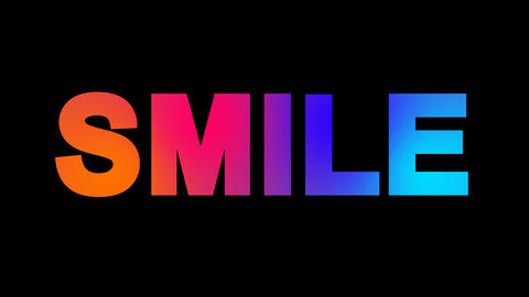 text SMILE multi-colored appear then disappear under the lightning strikes Animation