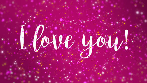 Sparkly pink I love you Valentine card CG動画素材