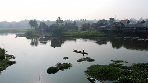 Calm Lake In Indonesian Village Footage