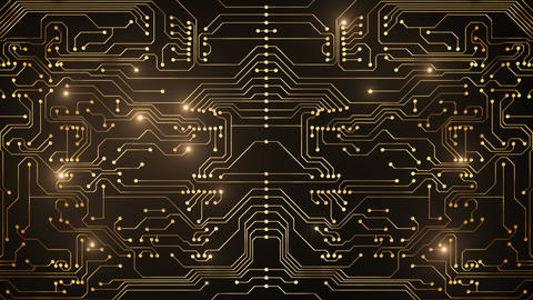 Abstract loop animation of gold circuit, Stock Animation