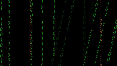 Abstract Binary Digital Code in color Footage