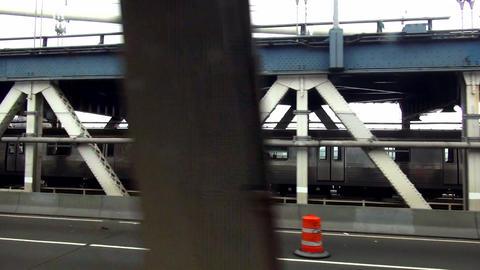 Subway on Manhattan Bridge – MANHATTAN, NEW YORK/USA NOVEMBER 20, 2013 Live Action
