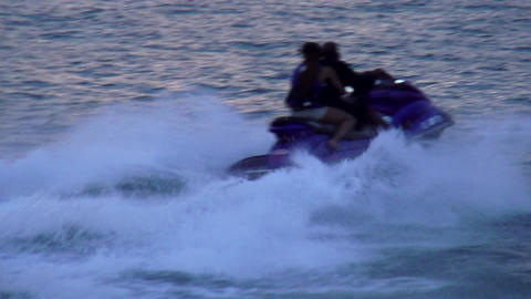 Action ride on a jetski in the evening – MIAMI, FLORIDA/USA OCTOBER 23, 2013 Footage