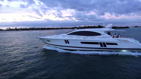 White luxury yacht cruising to Miami – MIAMI, FLORIDA/USA OCTOBER 23, 2013 Live Action