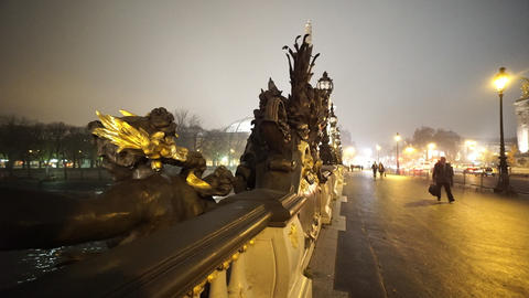 Beautiful bridge over River Seine called Pont Alexandre III Footage