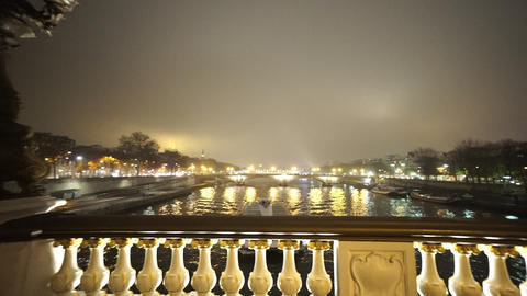 River Seine from Alexandre III Bridge in Paris in a misty night Footage