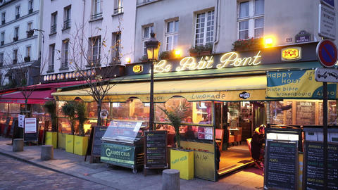 Small street cafe and restaurant in Paris Footage