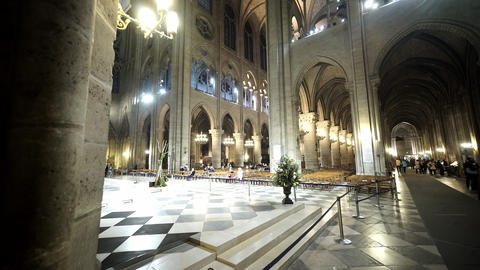 Wide angle shot of Notre Dame cathedral in Paris - for editorial use only Footage