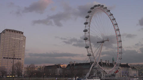 London Eye in the evening - LONDON,ENGLAND FEBRUARY 20, 2016 Live Action