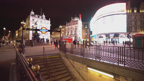 London Piccadilly Circus at night - LONDON,ENGLAND FEBRUARY 20, 2016 Live Action