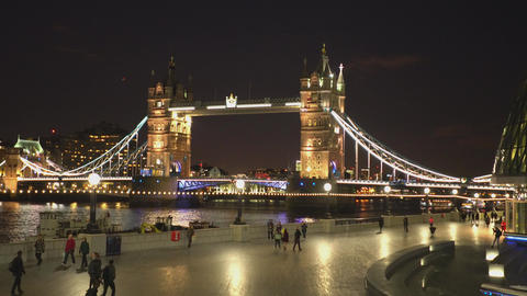 Tower Bridge London from More London Riverside LONDON,ENGLAND FEBRUARY 20, 2016 Live Action