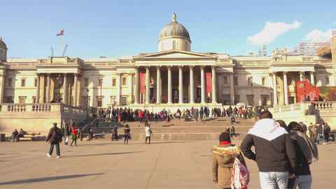 The National Gallery London at Trafalgar Square - LONDON,ENGLAND FEBRUARY 20, 20 Footage