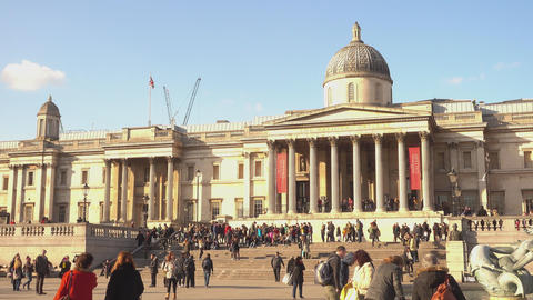 The National Gallery London at Trafalgar Square - LONDON,ENGLAND FEBRUARY 20, 20 Live Action