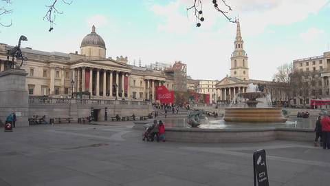 Famous Trafalgar Square London in the afternoon - LONDON,ENGLAND FEBRUARY 20, 20 Live Action
