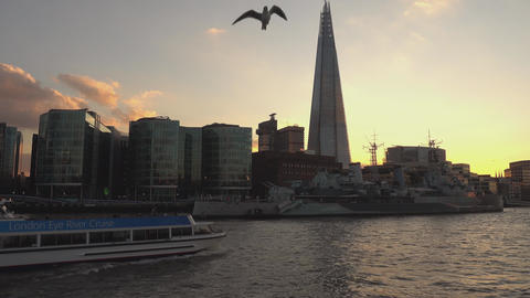 The Shard Building at sunset - LONDON,ENGLAND FEBRUARY 20, 2016 Live Action