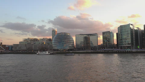 London City Hall and More London skyline in the evening - LONDON,ENGLAND FEBRUAR Live Action