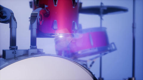 4k drum set with DOF and lense flair ビデオ