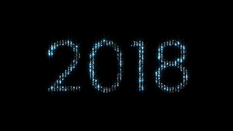 2018 year text Blue lights Animation