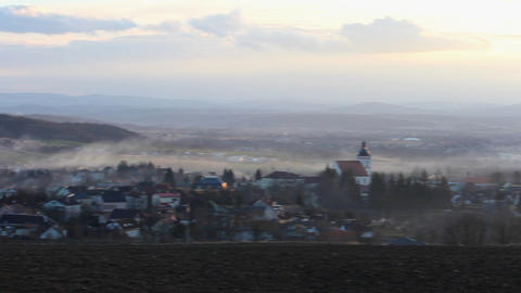 Aerial view to Ceske Budejovice in winter sunset 영상물