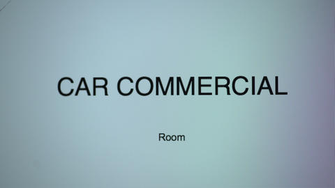 Letters spelling word room typed under phrase car commercial on computer screen Footage