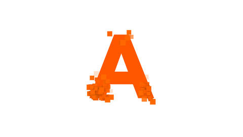 latin letter A from letters of different colors appears behind small squares Animation