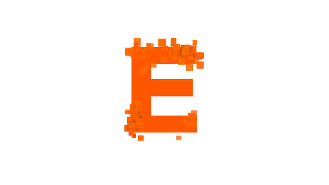 latin letter E from letters of different colors appears behind small squares Animation