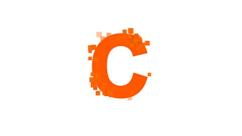 latin letter C from letters of different colors appears behind small squares Animation