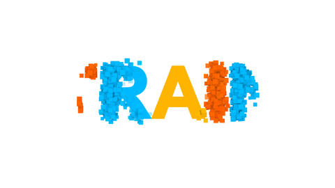 text TRAIN from letters of different colors appears behind small squares. Then Animation