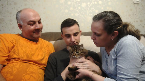 mother father and son playing with a cat,a happy family Footage