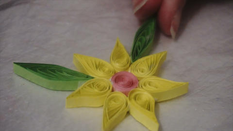 woman doing DIY paper quilling Footage