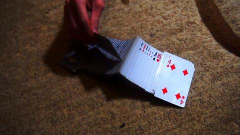 card trick, beautiful card shuffle Stock Video Footage