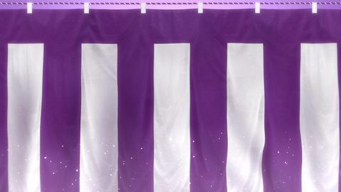 はためく紫白幕 - ズームアウト CG動画
