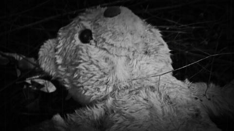 Teddy Bear In Horror Scene Near Abandoned Factory. Old Vintage Film Look Image