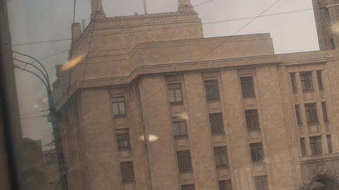 Flashing green traffic light in front of Moscow State University building Footage