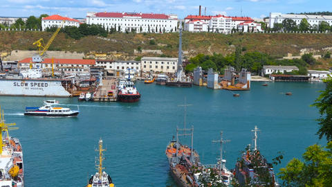 Sea port in the bay city Image