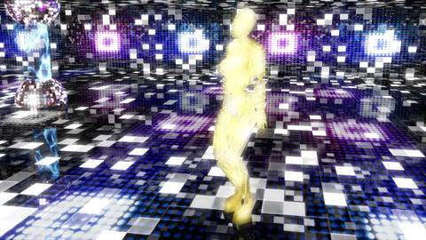 Beautiful cyber girl dances and moves in a neon nightclub. Loopable Animación