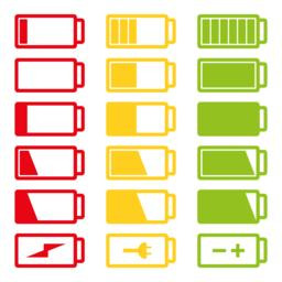 Battery flat icon set vector illustration isolated on white background eps10 Vector