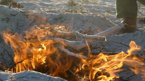 A bright campfire on the Black Sea coast deep at night in slo-mo Footage