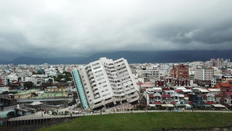 Earthquake in Hualien, Taiwan, leaves building leaning precariously 1/7 Footage