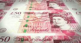 Serie of banknotes of fifty pound sterling on print, cash money, loop Animation