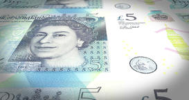 Banknotes of five pound sterling rolling on screen, cash money, loop Animation