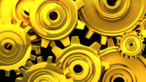 Gold Gears On Black Background CG動画素材