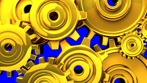 Gold Gears On Blue Chroma Key CG動画素材