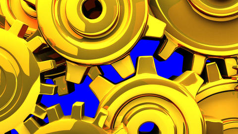 Gold Gears On Blue Chroma Key Animation