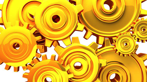 Gold Gears On White Background CG動画素材