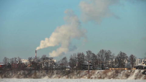 Winter landscape with smokestack Footage