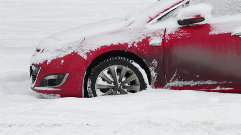 car stuck in deep snow Footage