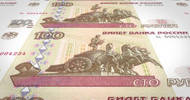 Banknotes of one hundred rubles russians rolling on screen, cash money, loop Animation